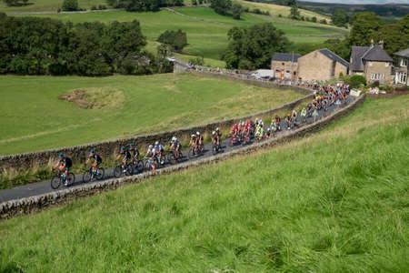 sightseeing: Cycle race coming through Slaidburn, Lancashire