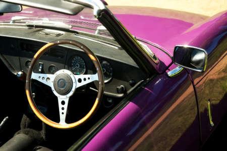 purple car: classic vintage purple sports car Stock Photo