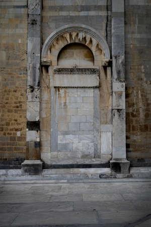 doorway: Blocked up doorway with pillars