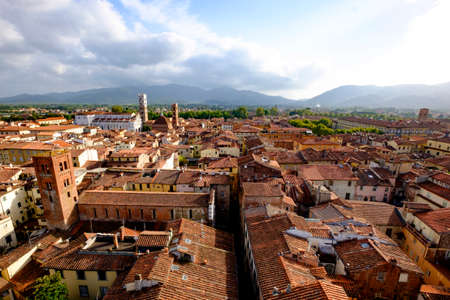 rooftops: Lucca rooftops looking toward cathedral Stock Photo