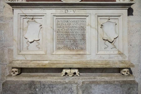 tomb: Marble tomb with latin inscription Stock Photo