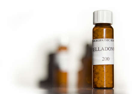 Homeopathy belladonna remedy in brown bottle