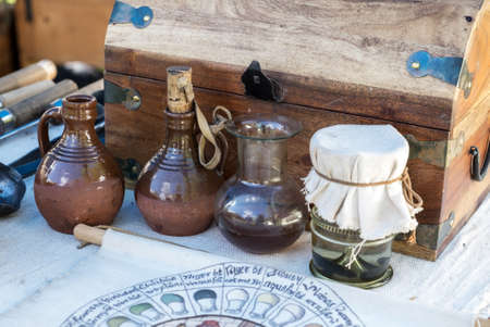 medieval medicine: Apothecarys chest of potions Stock Photo