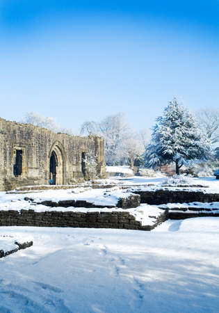 abbey ruins abbey: Snow on ruins at abbey