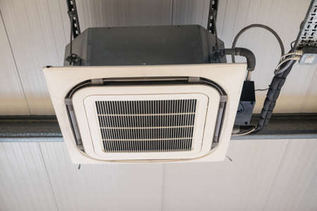 a unit: Air conditioning unit with exposed system Stock Photo