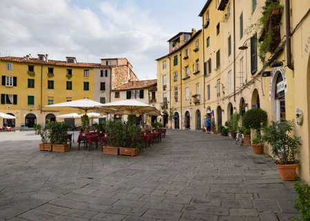 evident: Piazza del Anfiteatro at Lucca, Italy Editorial