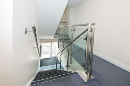 bannister: Steel and glass staircase and bannister
