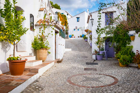 El Acebuchal, near Frigiliana, Spain. Tradition white village of Andalusia