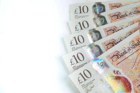 Five ten pound notes, UK money Stock fotó - 110473040