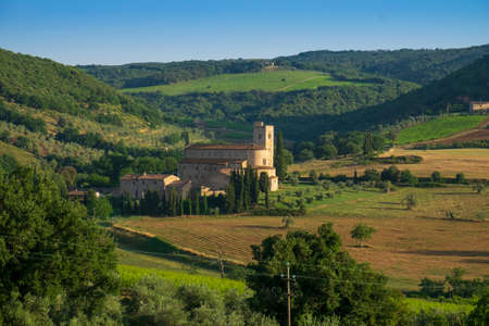 Sant Antimo abbey in the Tuscany countryside near Montalcino