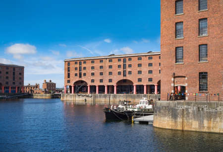 Royal Albert Dock, Liverpool, UK, public area around old victorian warehouses