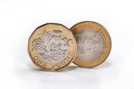 UK pound coin and EU euro coin