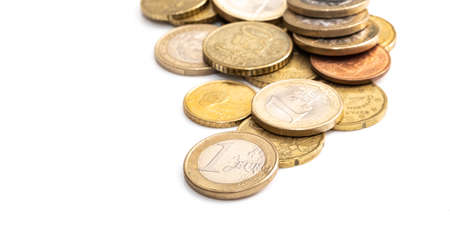 Euro coins, image includes several different coins Stock Photo