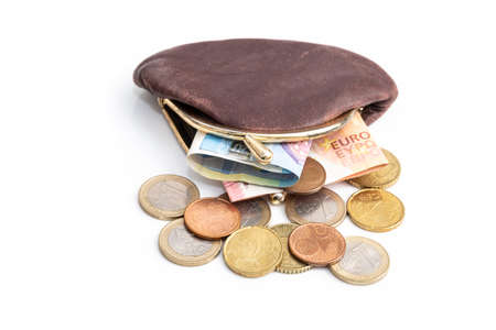 Euro money in purse, picture includes banknotes and coins Stock Photo