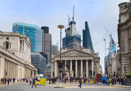 City of London, the Bank of England and Royal Exchange, April 2018