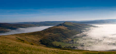 Peak District, Derbyshire, morning mist in Hope valley and Edale, seen from Mam Tor