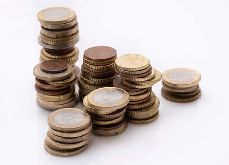 Rising stacks of euro coins, interest and growth concept Stock Photo