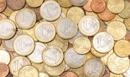 Eurozone coins, the euro is official currency of 19 of the 28 member states of the EU Stock Photo