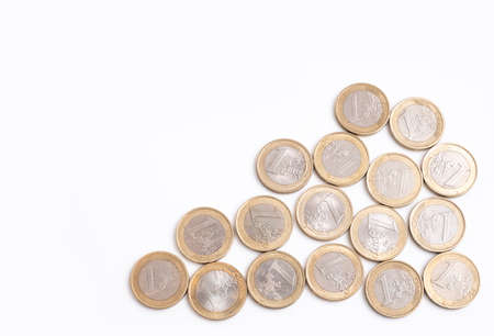 Euro coins, the currency of the EU, overhead