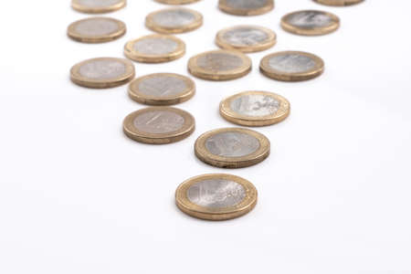 Euro coins, the official currency of 19 of the 28 member states of the EU