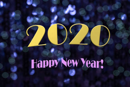 Happy new year 2020 message on sparkling background