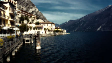 Limone sul Garda is one of the most prestigious places by the lake. The resort is located in the northern part of Lake Garda Stock Photo