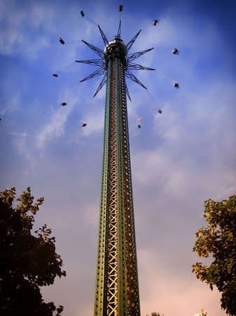 The Vienna Prater is a modern theme park with over 250 attractions that provide adrenaline Stok Fotoğraf