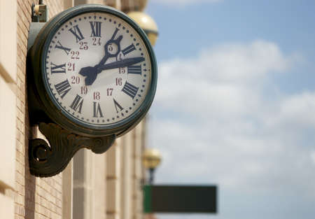 antic: Railway station outdoor analog clock with roman numbers