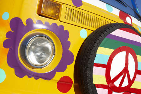 Van painted on yellow with hippie style Stock Photo - 18467326