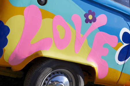 Pink love graffiti on a vehicle horizontal photo