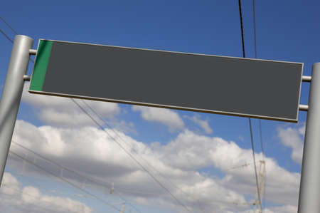 locomotion: Railway signpost without text under a blue sky