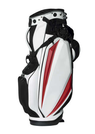 Golf bag in red, white and black isolated on white photo