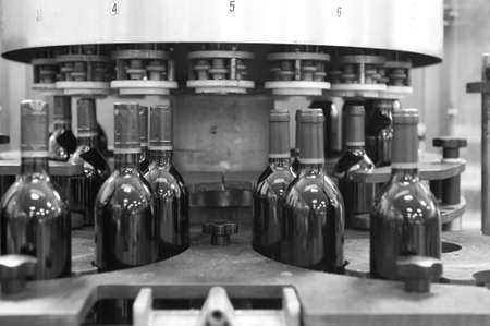 Wine cellar automatic bottling process Spain horizontal black and white