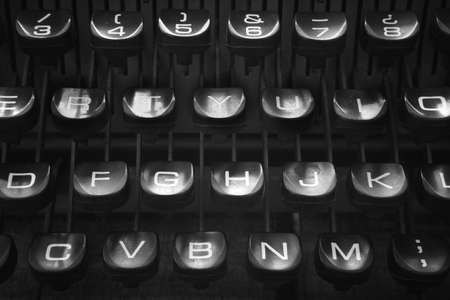 global retirement: Retro typewriter keys close up black and white colors