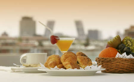 Breakfast for one person in a terrace of Madrid Hotel with buildings in the background Stock Photo - 20381237