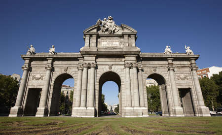 iluminate: Historical monument Alcala Gate in Madrid city Stock Photo