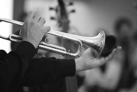 Closeup of musician hands playing the trumpet black and white