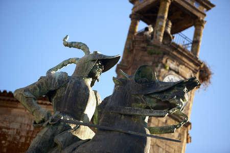 pizarro: Statue of Pizarro at city of Trujillo Spain Stock Photo