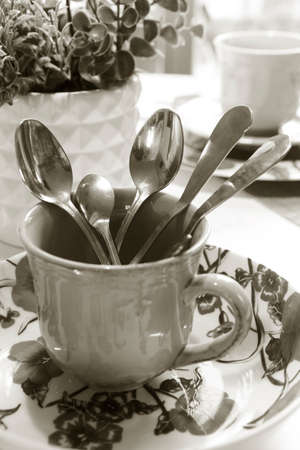 metal cutlery in a cup black and white photo