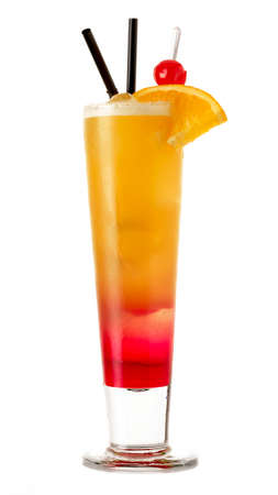 mamma: Caribbean mamma cocktail with orange slice against white background