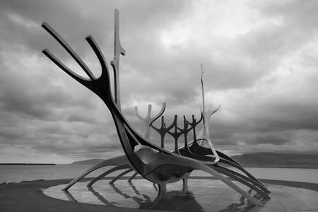 Sun Craft Metalic Sculpture against cloudy sky black and white Stock Photo - 25085154
