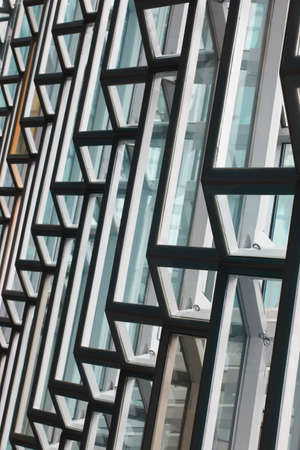 Facade detail of Harpa Concert Hall in Reykjavik vertical black and white