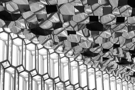 Roof and Facade detail of Harpa Concert Hall in Reykjavik black and white