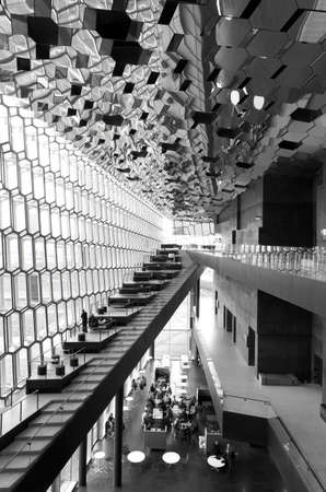 Facade detail interior and roof of Harpa Concert Hall in Reykjavik vertical black and white