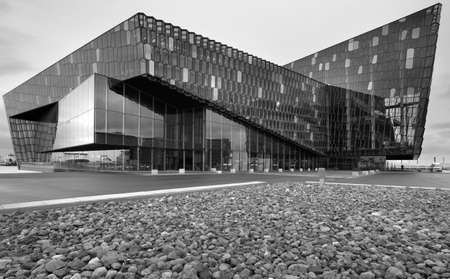 Exterior of Harpa Concert Hall in Reykjavik black and white