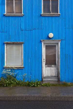 Traditional metallic islandic home facade with window  Stock Photo