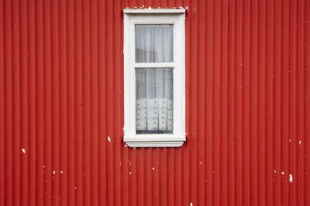 alluminum: Traditional metallic islandic home facade with window  Stock Photo