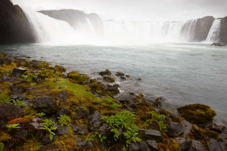 Bardardalur field of lava and Godafoss waterfall Iceland photo