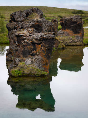 geological feature: Geological Feature Lake and lava formations in Iceland