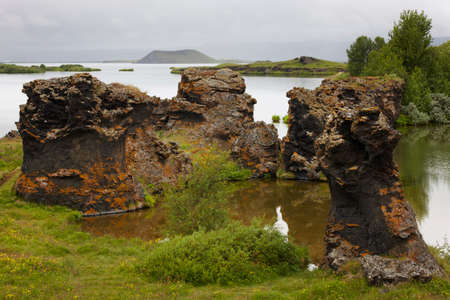 Geological Feature Lake and lava formations in Iceland photo